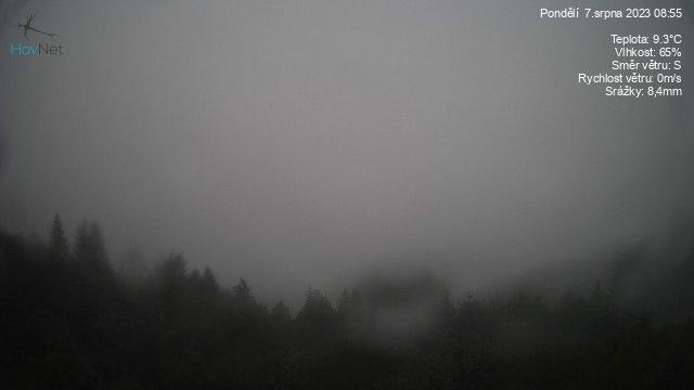 Aktuální snímek z webkamery umístěné na hotelu Portáš